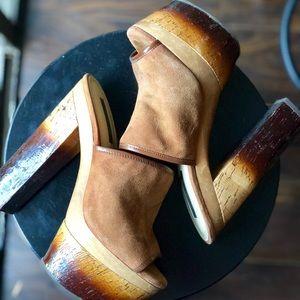 Rachel Zoe Brown Suede Peep Toe Platform Heels